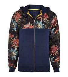 Navy tropical print mesh yoke hoodie £35.00
