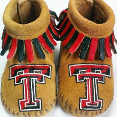Custom Texas Tech moccasins! All designs are one-of-a-kind, hand-painted by me…