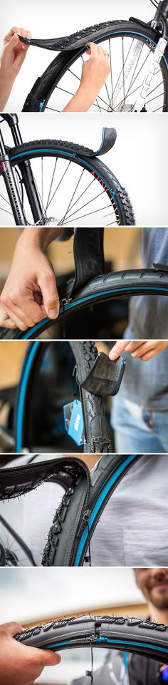 reTyre's zippable tire-tread system gives your city bicycle the versatility to work off the road too. A simple zipping mechanism allows you to add a secondary, tougher tread on your tires, letting you go from riding on smooth asphalt to traversing through Jeep Renegade, Colani, Tire Tread, Bicycle Tires, Retro Images, Cool Inventions, Bike Design, Cycling Bikes, Land Cruiser