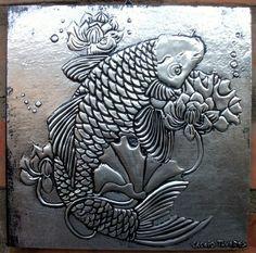 Carpa - placa 20x20cm sobre alumínio.