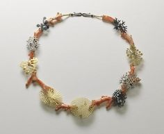 Suza Rezac. Necklace: branch coral. 18K gold, oxidized silver