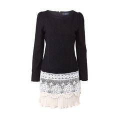 Lace Hem Black Shift Dress found on Polyvore