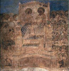Historia de la Vírgen Maria: Cristo y la Virgen en Gloria, afresco en el ábside de la Basílica Superior de San Francisco de Asís. Cimabue, 1277 - 1283. Cenni di Pepo Cimabue (Florencia; 1240 - Pisa; 1302) fue un pintor y creador de mosaicos florentino. Se le considera iniciador de la escuela florentina del Trecento.