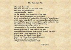 Mary Oliver Quotes, Black Bear, Summer Days, American Black Bear