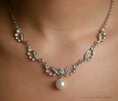 Crystal and Swarovski pearl Art deco style bridal necklace  - Vintage style wedding jewelry, Rhinestone bridal accessories, crystal jewelry. £45.00, via Etsy.