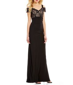 Black/Taupe:R&M Richards Off-The-Shoulder Lace Sweetheart Gown