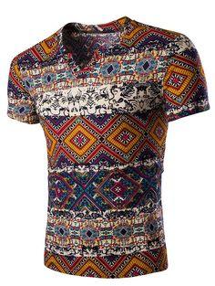 Fashion V Neck Abstract Printing Short Sleeves T-Shirt For Men - Gamiss