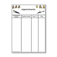 Hairdressers Role Play Resources - Appointment Worksheet