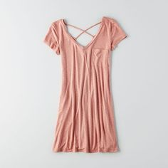 AE Washed Tee Dress ($35) ❤ liked on Polyvore featuring dresses, pink, short sleeve shift dress, shift dress, t shirt dress, v neck t shirt dress and pink dress