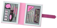 Cleverly disguised. The Tool Book looks like a journal but contains all the tools you need to complete small repairs. Available in pink or black with quality tools inserted in die cut foam.