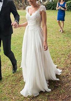 V-neck A-line Wedding Dresses,Cap Sleeves Lace Ivory Beach Wedding Dress,Chiffon Appliqued Wedding Dresses