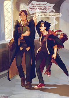 Crossover: Haikyuu! & Harry Potter by Viria - Asahi and Nishinoya