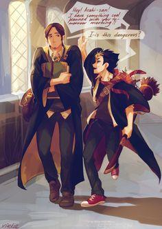 Haikyuu - Asahi x Nishinoya Asanoya - Harry Potter Kagehina, Nishinoya Yuu, Daisuga, Kuroken, Kenma, Haikyuu Funny, Haikyuu Fanart, Haikyuu Ships, Hinata
