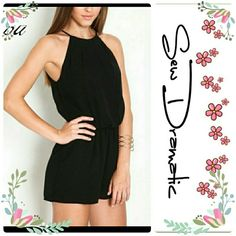 Pretty Black Romper! Cozy Cute Comfortable Black Romper.  Light Cotton Polyester rayon blend material!  Perfect for summer nights! Machine wash cold hand dry.   For a cozy flowy fit please order one size up! Runs just a tad small Dresses