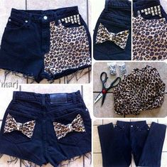 DIY jeans to shorts. Leopard fabric, studs and make any bow! Fashion Tips For Women, Diy Fashion, Fashion Design, Diy Pantalones Cortos, Diy Clothes And Shoes, Lace Jeans, Diy Jeans, Denim Shorts, Summer Outfits