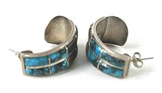 Inlay Half Loop Post earrings E551 Vintage Earrings, Vintage Jewelry, Matrix Color, Native American Earrings, American Indian Jewelry, Vintage Shops, Cuff Bracelets, Turquoise, Sterling Silver