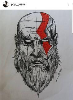 God of War Kratos Tattoo Tatuagem Deus da Guerraa Marvel Drawings, Dark Art Drawings, Pencil Art Drawings, Art Drawings Sketches, Cool Drawings, Sketch Tattoo Design, Tattoo Sketches, Tattoo Drawings, War Tattoo