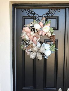 Excited to share the latest addition to my #etsy shop: Neutral Winter/ Spring Wreath - Ready to Ship #busseywreaths #housewares #homedecor #beige #housewarming #entryway #winter #grapevine #decor #burlap #classy #spring
