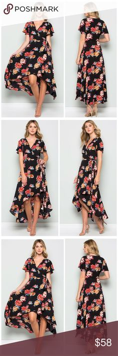 PREORDER Stunning hi lo Floral wrap dress in black Absolutely gorgeous! Self tie wrap dress in black with stunning floral print - the perfect piece to take you from summer to fall! Dresses