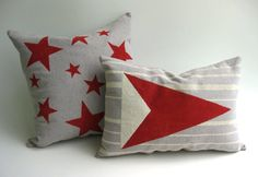 The perfect bright and casual pillow set! Hand painted, so you know no one will ever have the exact same pair! https://www.etsy.com/listing/194385770/pillow-set-stars-and-pennant-red-and