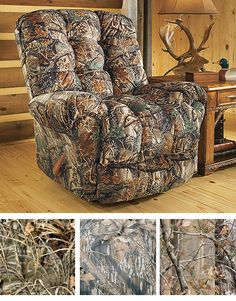 For home and cabin decor that is as tasteful as it is practical, shop the rustic home decor from Cabela's. Bring the outdoors in with rustic cabin decorations. Camo Home Decor, Rustic Cabin Decor, Unique Home Decor, Camo Living Rooms, Living Room Chairs, Camo Furniture, Living Furniture, Boys Army Bedroom, Country Style Living Room