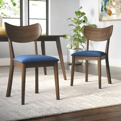 Chic Waterbury Solid Wood Dining Chair (Set of by George Oliver kitchen dining furniture sale from top store Navy Dining Chairs, Kitchen Chairs, Upholstered Dining Chairs, Dining Chair Set, Side Chairs, Kitchen Dining, Dining Area, Mid Century Modern Dining Room, Mid Century Dining Chairs