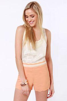 Scalloped Peach Shorts