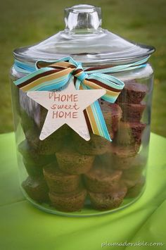 Great Housewarming Gift: This particular gift idea is was for a housewarming but you could use it for many different gift ideas-birthdays, anniversary's, holiday parties, etc… really whatever the occasion.. you can fill the cookie jar with whatever you want. It is such a simple yet classy gift!