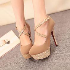Sexy Strappy Brown Metallic High Heel Fashion SHoes