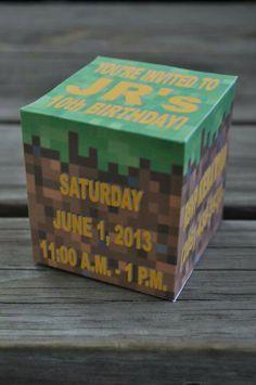 Minecraft Grass block invitation for a boys party Minecraft Birthday Party, Cat Birthday, Boy Birthday Parties, Birthday Ideas, Mindcraft Party, Party Items, Decoration, Nerdy Kid, Grass