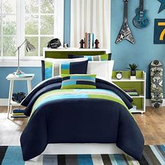 Girls Navy Blue Lime Green Maverick Duvet Cover King Cal King California Set Sky Blue Grey Abstract Color Block Pattern Solid Color Kids Bedding