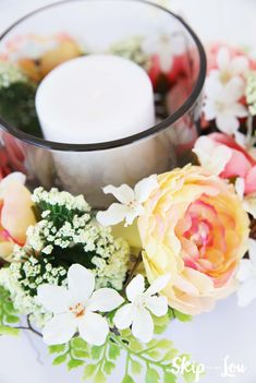 Floral centerpiece with candle how to #MichaelsMakers Skip To My Lou