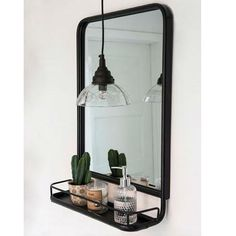 Black Metal Mirror with Shelf No need to tell you how much we rate this mirror. Perfect for modern and traditional bathrooms. Love this look a lot. Bathroom Mirror With Shelf, Black Wall Mirror, Metal Mirror, Round Wall Mirror, Wall Mirror Ideas, Black Metal Shelf, Bathroom Vanities, Wall Mirror And Shelf, Large Black Mirror
