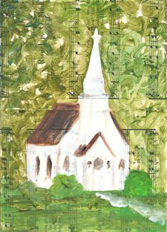 This is a giclee print of an original oil painting of mine, of a small white church in the woods. Title: In the Woods IMAGE SIZE: approximately 5 x 7 inches PAPER SIZE: 8.5 x 11 inches, 21.6 x 27.9cm It is printed using Epson Ultrachrome archival inks on heavyweight matte fine