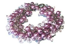 Lilac Pearl and Crystal Cluster Bracelet  by SeagullSmithJewelry, $23.00