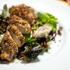 Pecan Crusted Chicken Salad with honey-mustard dressing