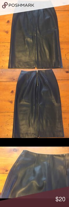 Zara Faux Leather Pencil Skirt I am obsessed with this skirt- it is so flattering and amazing but unfortunately my ass is too big for it (ya girl been doing too many squats).  It is very dark blue almost black Faux leather pencil skirt.  It is perfect office skirt for the non basic b******.  Dress is up with a button up or with a sexy tank for the club!  It is so versatile and makes your booty look bangin. Zara Skirts Pencil
