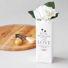 #Personalised Full of Love #White Square #Vase A1 Gifts