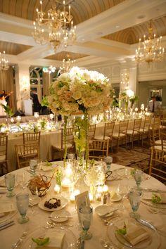 Beautiful wedding reception table setting. Colonnade Ballroom, luxury beach Hotel Casa del Mar - Santa Monica, California.