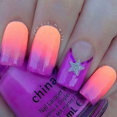 Discover new and inspirational nail art for your short nail designs. Gradient Nails, Neon Nails, Love Nails, Diy Nails, How To Do Nails, Pretty Nails, Star Nails, Orange Nail Art, Neon Orange Nails