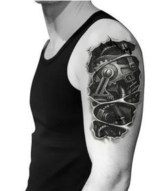 3D Biomechanical design arm Temporary tattoo by ItsTattooTime