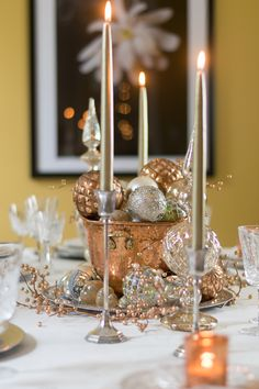 Mixed Metals Table Setting and  Centerpiece