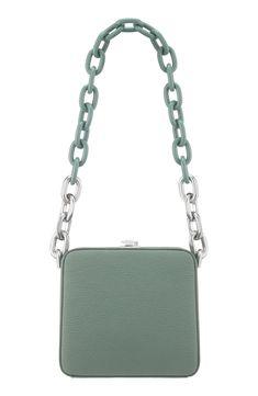 21e303e1a1fa THE VOLON CUBE CHAIN HANDLE LEATHER BAG - GREEN. #thevolon #bags #leather