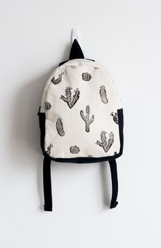 Toddler backpack, Girl backpack, Boy backpack, Cactus print, Block printed, Hand stamped, Kid's backpack