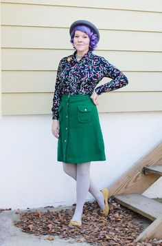 what I wore: golden telephone Green Tights, Vintage Outfits, Vintage Dresses, Fashion Pictures, Get Dressed, What I Wore, Work Wear, Your Style, Cool Outfits
