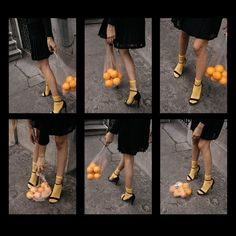 Creative content direction by fashion influencer Beatrice Gutu shoe editorial strappy sandals and oranges in plastic bag aesthetic conceptual photography Source by ZaneMeetsFashion aesthetic
