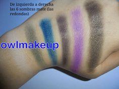 Swatches de las sombras mate de la paleta de sombras Give them nightmares de Makeup Revolution.