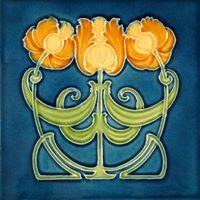 Art Nouveau-style flower tile