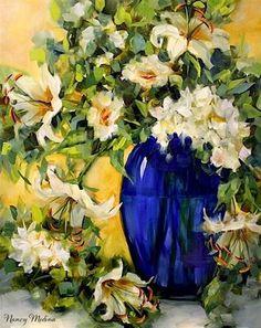 """Blue Glass Lilies and Hydrangeas by Texas Flower Artist Nancy Medina"" - Original Fine Art for Sale - © Nancy Medina $525"