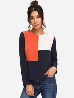 Shop Keyhole Back Color-block Top online. SHEIN offers Keyhole Back Color-block Top & more to fit your fashionable needs. Spring Shirts, Women's Dresses, Types Of Sleeves, Types Of Shirts, Color Blocking, Fashion News, Tunic Tops, Clothes For Women, Womens Fashion